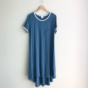 LuLaRoe Blue T-Shirt Casual Midi Dress Size Large